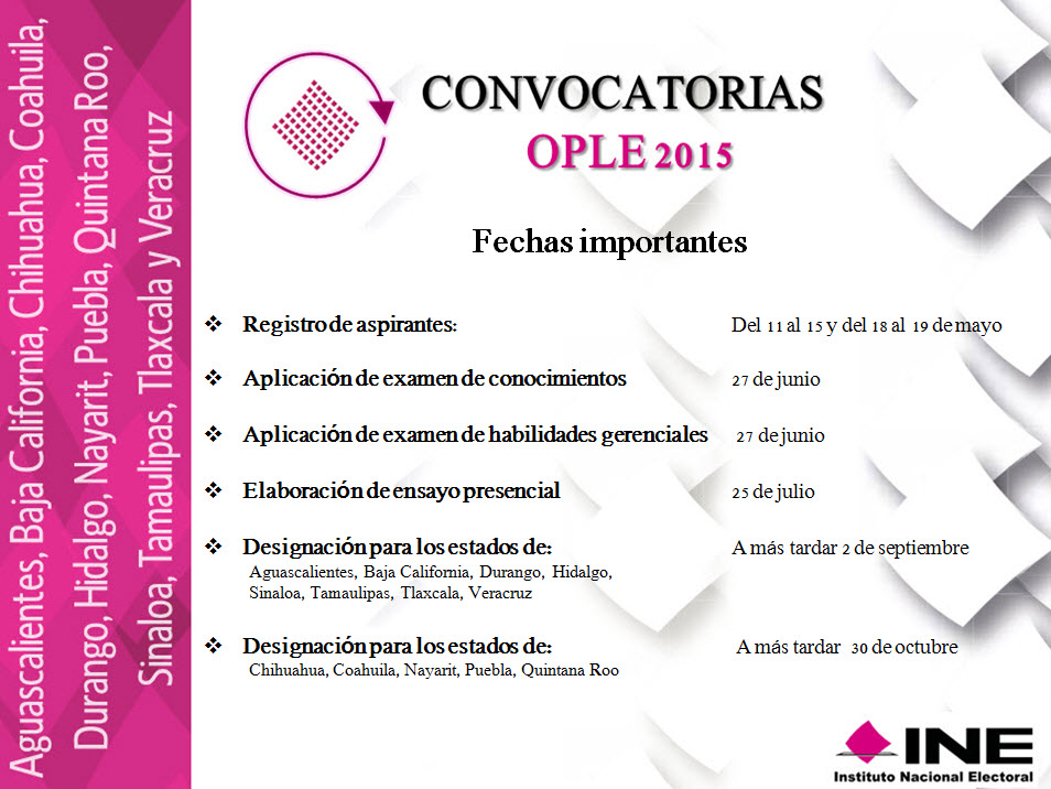 Convocatoria y normatividad instituto nacional electoral for Convocatorias para profesores 2016